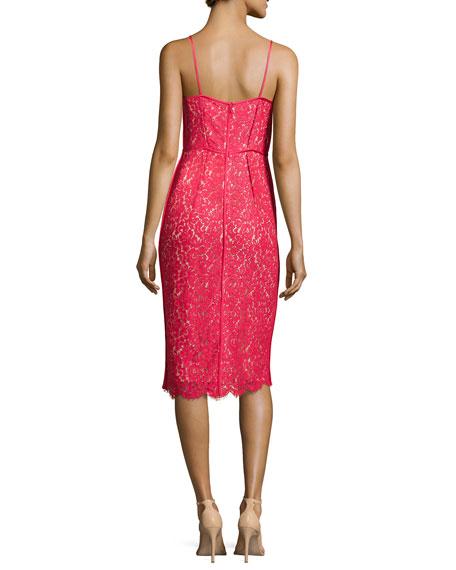 Floral Lace Spaghetti Strap Sheath Dress, Azalea