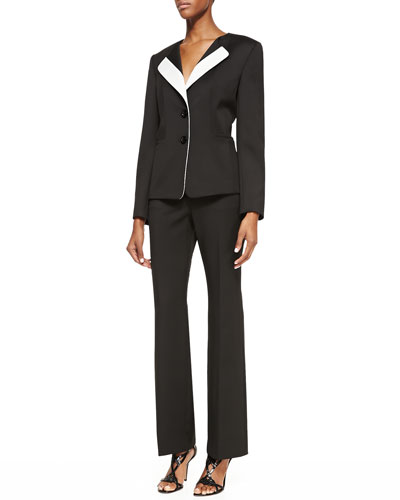 Two-Piece Colorblock Pantsuit, Onyx/Ivory