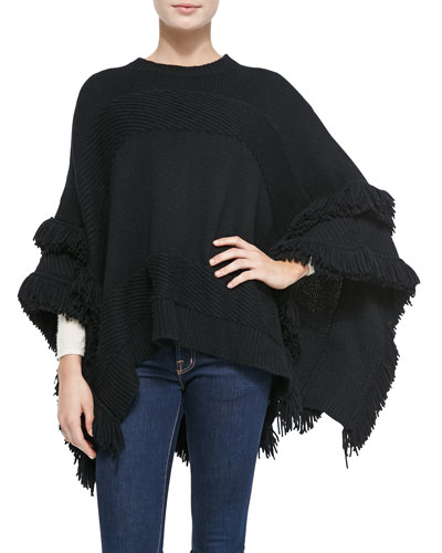 Derek Lam for Neiman Marcus Cashmere Collection Cashmere Poncho w/Fringe, Black
