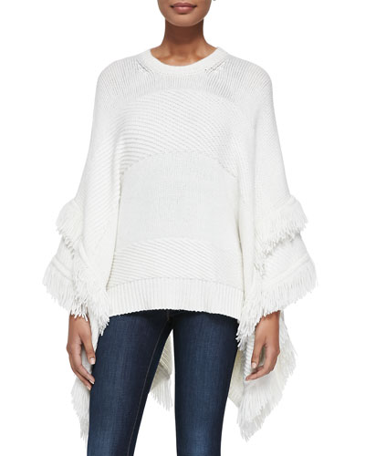 Derek Lam for Neiman Marcus Cashmere Collection Cashmere Poncho w/Fringe, Ivory