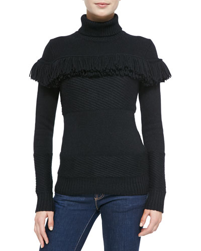 Derek Lam for Neiman Marcus Cashmere Collection Cashmere Turtleneck w/Fringe, Black