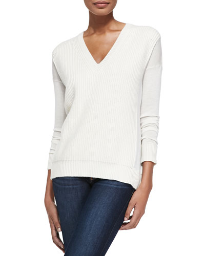 Derek Lam for Neiman Marcus Cashmere Collection V-Neck Shaker-Stitch Top w/Silky Sleeves