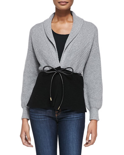 Derek Lam for Neiman Marcus Cashmere Collection Colorblocked Belted Cardigan