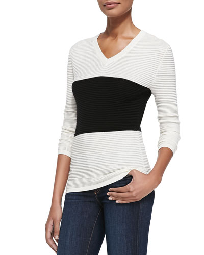 Derek Lam for Neiman Marcus Cashmere Collection Two-Tone Ribbed V-Neck Top