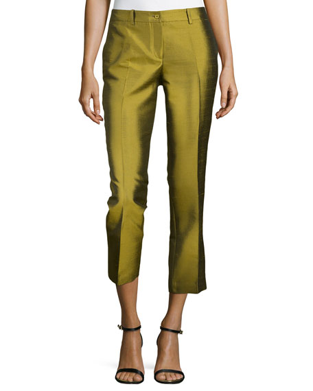 Samantha Cropped Shantung Pants, Leaf