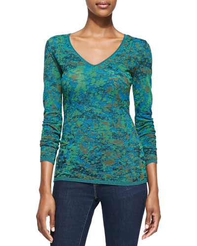 M. Missoni Space-Dyed Marble Knit V-Neck Top