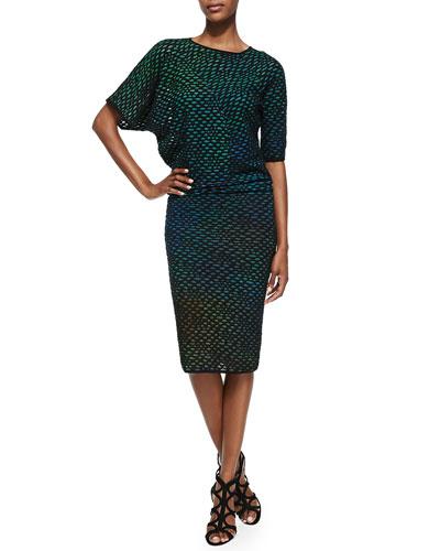 M. Missoni Bubble Knit Mid-Calf Dress