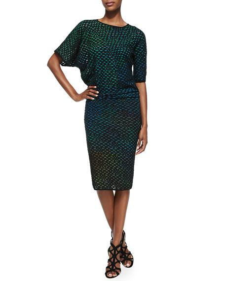 M Missoni Bubble Knit Mid-Calf Dress