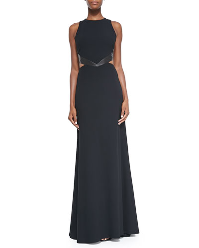 Alice + Olivia Adel Leather-Waist Cutout Gown