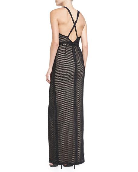 Ida Cross-Back Mesh Gown