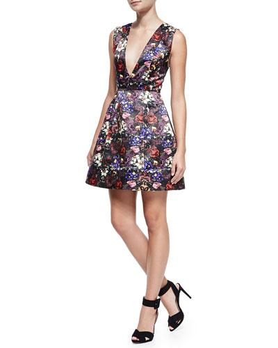 Alice + Olivia Kiro Deep-V Floral-Print Dress