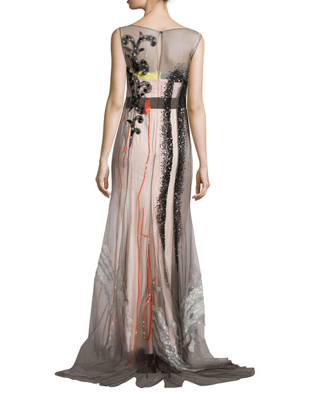 Embellished-Tulle Colorblock Gown, Multicolor
