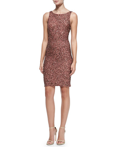 Alice + Olivia Kimber Beaded Scoop-Back Dress