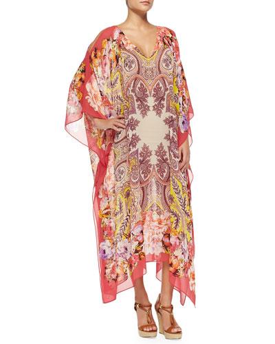 Paisley Floral Silk Caftan, Pink
