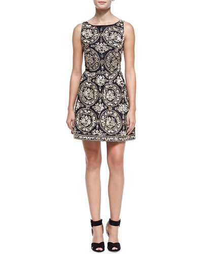 Alice + Olivia Lilyanne Embroidered Open-Back Dress