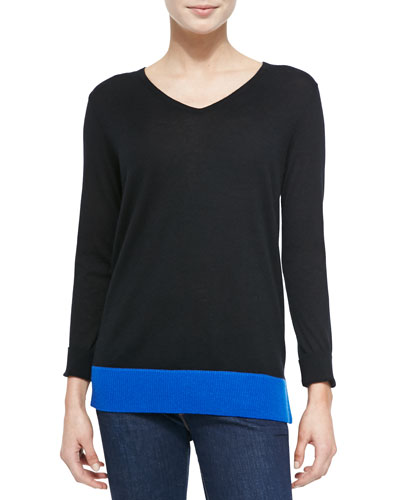 Neiman Marcus Cashmere Colorblock V-Neck Sweater