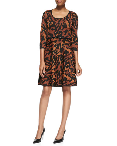 Carmen by Carmen Marc Valvo Animal Jacquard Fit & Flare Dress
