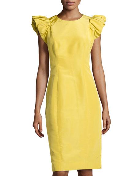 Faille Ruffle-Sleeve Sheath Dress, Chartreuse