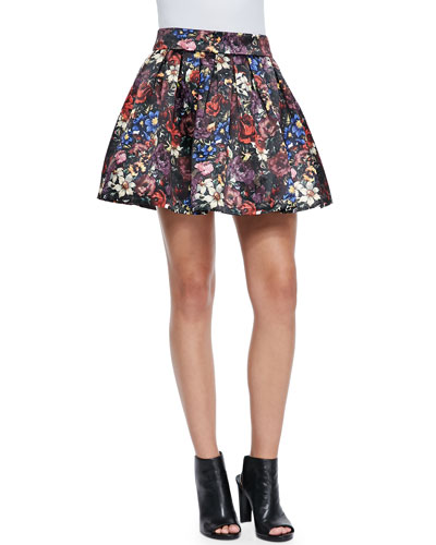 Alice + Olivia Fizer Pleated Floral-Print Skirt