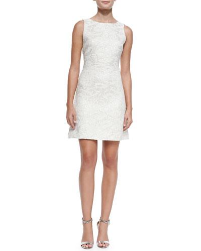 Alice + Olivia Whela Shimmery Jacquard A-Line Dress