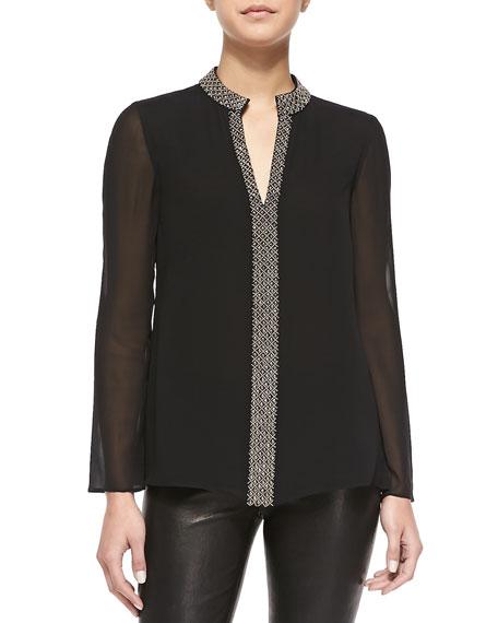 Lynn Long-Sleeve Tunic W/ Embellished Placket