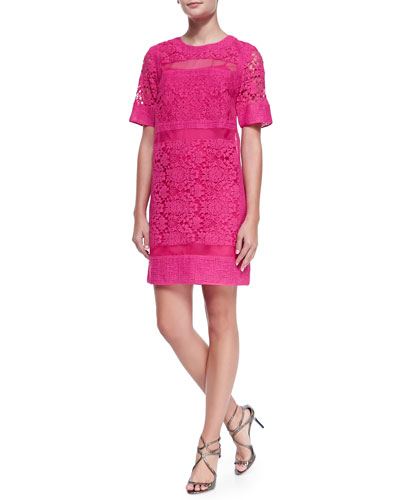 Rebecca Taylor Crochet/Organza/Netted Patchwork Dress