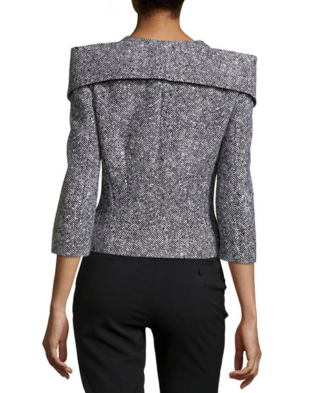 Michael Kors Zip-Front Tweed Jacket