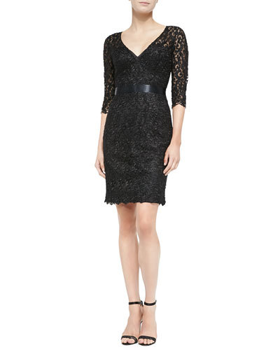 Liancarlo V-Neck Lace Cocktail Dress