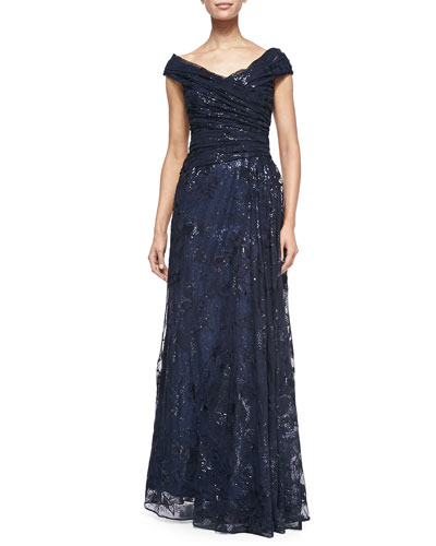 Liancarlo Off-the-Shoulder Metallic Lace Gown, Navy