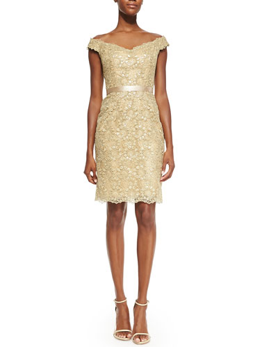 Liancarlo Off-the-Shoulder Lace Dress, Gold