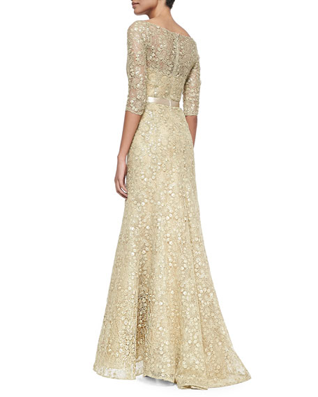Three-Quarter-Sleeve Lace Gown, Gold