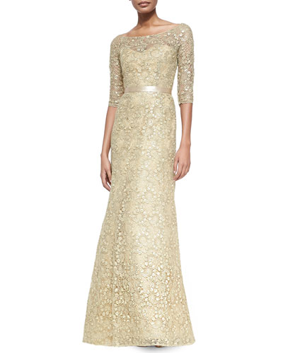 Liancarlo Three-Quarter-Sleeve Lace Gown, Gold