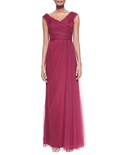 Liancarlo Off-the-Shoulder Tulle Gown, Raspberry