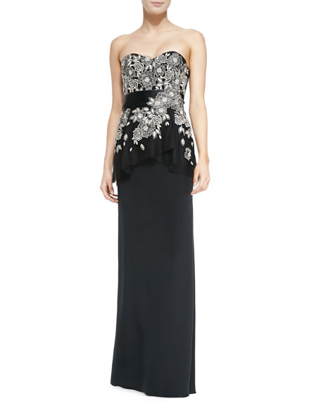 Liancarlo Embroidered-Bodice Strapless Silk Gown