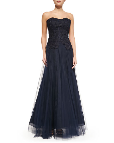 Liancarlo Floral Embroidered Strapless Gown, Navy