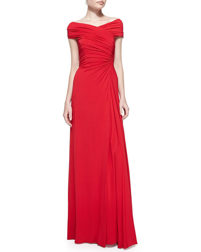 Melinda Eng Ruched Off-the-Shoulder Jersey Gown