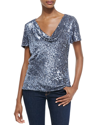 Melinda Eng Drape-Neck Sequined Loose Top