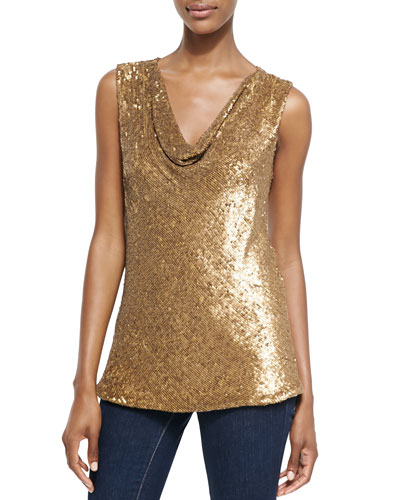 Melinda Eng Sleeveless Drape-Neck Sequined Top