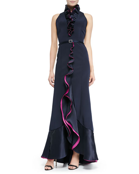 Roland Nivelais Sleeveless Ruffle-Front Belted Gown