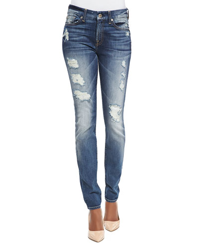 7 For All Mankind High-Rise Distressed Superskinny Jeans, Destroyed Deep Indigo