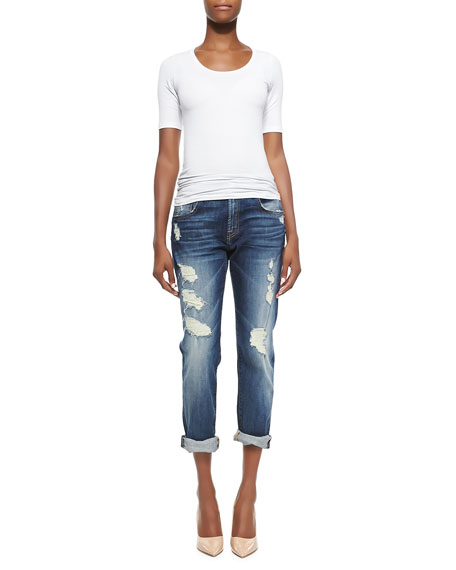 Relaxed Skinny Shredded Jeans