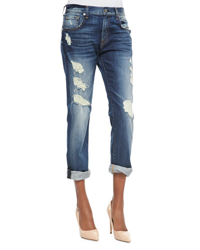 7 For All Mankind Relaxed Skinny Shredded Jeans