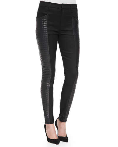 7 For All Mankind Skinny Jeans W/ Quilted Leather Sides, Black