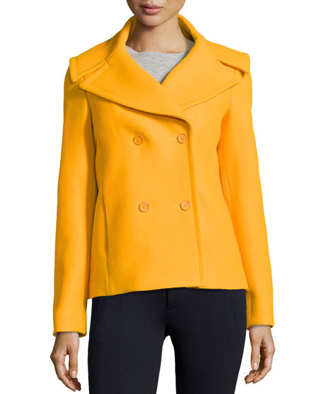 Felted Double-Breasted Pea Coat, Taxi Cab
