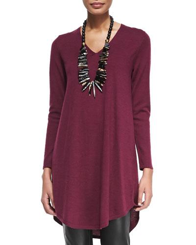 V-Neck Merino Wool Shirttail Dress, Petite