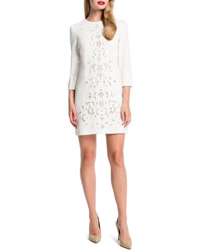 Anya Lace-Front Mini Dress, Light Cream