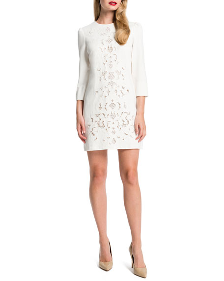 Anya Lace-Front Mini Dress, Light Cream
