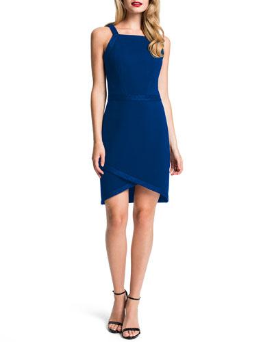 Billie Strappy Tulip-Hem Dress, Blue