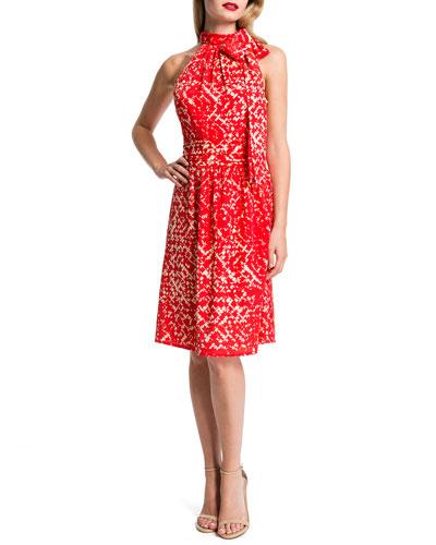 Meera Sleeveless Printed Tie-Neck Dress