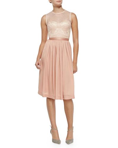 Zaina Embroidered-Bodice Cocktail Dress